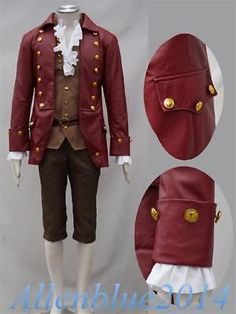 Movie Beauty and the Beast Gaston Cosplay Costume Men Outfit Halloween  Medieval 28181fbea8c