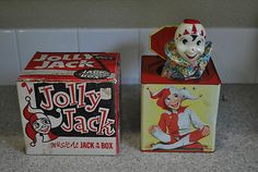 RARE Vintage Jolly Jack in the Box 1950s Antique Toy Clown Jester Box Included