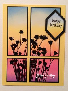 By Patsy Collins. Sponged glossy cardstock to create sunset. Stamped flowers in black. Then cut image into 4 unequal parts. Matted each then attached them to card base.