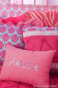 Craft your own pile of made-to-match pillows with coordinating fabric in a variety of patterns and colors.