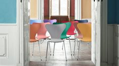 Special Offer: Receive off your fourth chair when you buy four. The unmistakable Series 7 Chair designed by Arne Jacobsen in a staple classic of the Fritz Hansen catalogue. Fritz Hansen, Bureau Design, Trieste, Arne Jacobsen Chair, R Colors, Modernisme, Muuto, Plastic Adirondack Chairs, Colorful Chairs