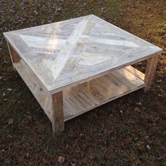 Large square coffee table made from pallet wood. The table pictured is roughly 40x40x18.