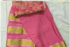 Peach georgette saree with a designer blouse