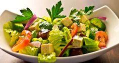 Greek Salad with Marinated Tofu, Grilled Eggplant & Tomato. Low sodium blog.