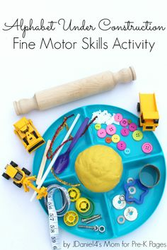 Alphabet Under Construction inspired Fine Motor Activity for Preschool. The perfect activity to go along with the book Alphabet Under Construction. Make learning letters of the alphabet fun and meaningful!