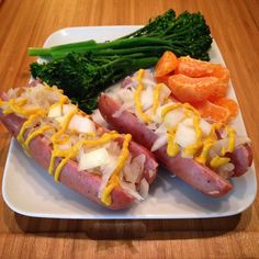 """Day 28 meal 2: ""hot dogs"" for lunch...chicken and apple sausage stuffed with sauerkraut, onions and mustard with broccolini and an orange #whole30breakfast #whole30 #whole30challenge #whole30homies #dairyfree #sugarfree #soyfree #glutenfree #grainfree #eatclean #cleaneating #paleo #instafood #whole30asfuck #jerf #wholefoods #iswf"" Photo taken by @beckyw_whole30 on Instagram, pinned via the InstaPin iOS App! http://www.instapinapp.com (01/30/2015)"