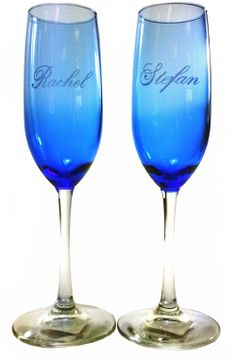 2 Personalized  Blue Champagne Flute by BringJoyCollection on Etsy, $18.00