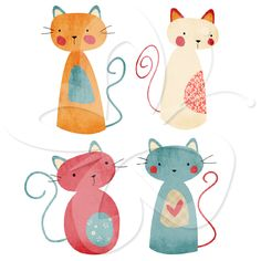 Cute Kitty Cat clip art set by Creative Clip Art Collection. These cats are perfect for cards, invitations or print and frame for the kids room or nursery.