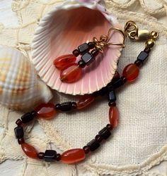 Beaded gemstone Bracelet Earrings set Carnelian by TobysArtwear