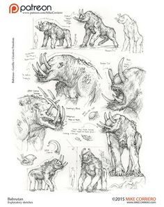 Babrutan sketch exploration studies, Mike Corriero on ArtStation at… Monster Concept Art, Alien Concept Art, Creature Concept Art, Creature Design, Alien Creatures, Fantasy Creatures, Hulk Art, Alien Art, Elements Of Art