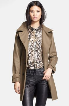 The Kooples Leather Trim Double Breasted Wool Blend Coat available at #Nordstrom