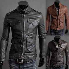 Mens Solid Color Fashion Slim Leather Jacket | Sneak Outfitters