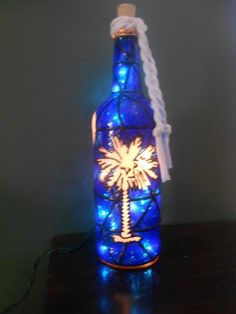 Hand Painted Lighted Wine Bottle SC Palmetto Design Stained Glass look