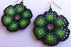 Mexican Huichol Medium Beaded Green Flat Flower by Aramara on Etsy