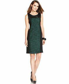 Ellen Tracy Dress, Sleeveless Pleather Tweed Sheath