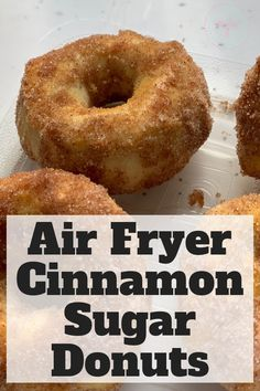 How to make easy, delicious cinnamon sugar canned biscuit donuts in your air fryer! Use the recipe that utilizes basic canned biscuits to make these delicious donuts. Air Fryer Recipes Snacks, Air Fryer Recipes Vegetarian, Air Fryer Recipes Breakfast, Air Frier Recipes, Air Fryer Dinner Recipes, Recipes Dinner, Lunch Recipes, Breakfast Ideas, Dinner Ideas