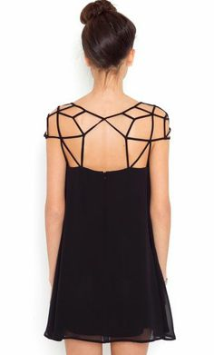 Black Girld Cut Out Shift Chiffon Mini Dress  Sheinside.com