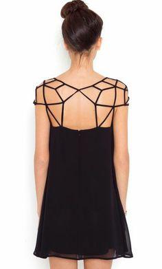 Black Gird Cut Out Shift Chiffon Mini Dress