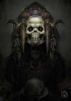 """ Kostya Chernianu aztec demon "" more art by Kostya Chernianu Arte Horror, Horror Art, Dark Fantasy Art, Armband Tattoos, Character Art, Character Design, Totenkopf Tattoo, Aztec Culture, Tribute"