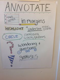 Annotation anchor chart recently seen at Pacific Grove Middle School