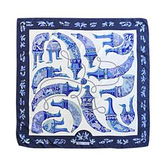 Rare 1975 Vintage Hermes ' Ryhtons ' by Karin Swildens Large Blue Silk Scarf   From a collection of rare vintage scarves at https://www.1stdibs.com/fashion/accessories/scarves/