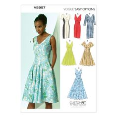 Vogue Very Easy Dress Sewing Pattern/Sizes Sleeveless or with Sleeve, Skirt flared or Semi-fitted skirt. Vogue Patterns, Dress Sewing Patterns, Clothing Patterns, Summer Dress Patterns, Miss Dress, V Neck Dress, Lace Dress, Wrap Dress, Sewing Clothes
