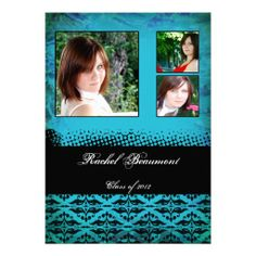 This graduation announcement is a modern damask grunge design! The background is a teal grunge design with a place for three photos with a b...