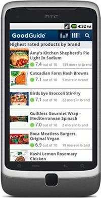 GoodGuide App - Simply find any product (by browse, search or barcode scan) and immediately see detailed ratings for health, environment and social responsibility for more than 120,000 products and companies. GoodGuide provides this information about products in many categories including personal care, food, household, babies and kids, pet food, apparel, electronics, appliances, cars and more!