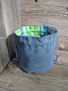 Bucket Bag Denim & Rainbow Stripe Upcycled Blue Jeans Purple Lime Green Makeup Travel Tote, Etsy