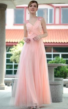 A-Line Floor Length Double V-Neck Formal Evening Suit Prom Ball Gown Pink F Girl