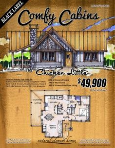 The Chicken Little 770 SF, 1 BR, 1 BA,                         302 SF Outdoor Living | Natural Element Homes #ComfyCabins #BlackLabel