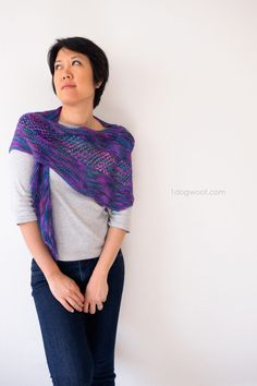 The New Paths Shawl is a simple garter stitch knit project for a lightweight asymmetrical shawl or wrap. www.1dogwoof.com