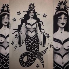 Iemanjá Inspired Old School Mermaid by Bruna Yonashiro