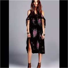 NWT Free People Floral Shift Dress Black with floral, cut out Strappy shoulders. This dress is way cooler in person. No trades, discount with bundle. Free People Dresses