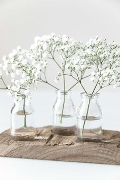 Subtle and romantic: Decorate a vase or a bouquet with your baby's breath Deco Floral, Arte Floral, Bud Vases, Flower Vases, Wall Vases, Glass Flowers, White Flowers, Beautiful Flowers, Rose Flowers