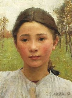 George Clausen (English artist, 1852-1944) Portrait of a Young Girl