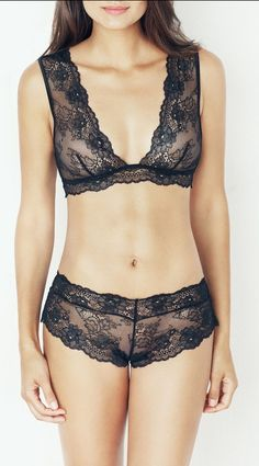 Black Lace Besame Bralette ♥ Lovely w/a tank letting the lace show!