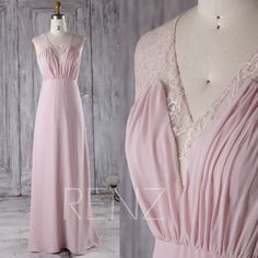 2016 Blush Chiffon Bridesmaid Dress, V Neck Lace Wedding Dress, Long Prom Dress, Ruched Bodice Evening Gown Floor Length (TL170) by RenzRags on Etsy https://www.etsy.com/listing/477394222/2016-blush-chiffon-bridesmaid-dress-v