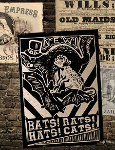 """andnamelessthings: """" Bats! Rats! Hats! Cats! A thrilling new show at Mahogany Hall! Actual linocut, fake wall, for the Fallen London Fanart Competition. Fallen London is © 2015 and ™ Failbetter Games Limited: www.fallenlondon.com. This is an..."""