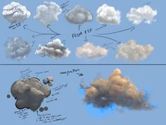 Cloud Practice by JoshSummana on DeviantArt - Malerei Acrylic Painting Techniques, Painting Lessons, Painting Tips, Art Techniques, Painting & Drawing, Cloud Drawing, Cloud Art, Digital Painting Tutorials, Digital Art Tutorial