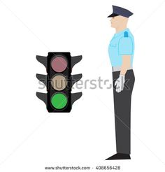 vector policeman showing go gesture. green traffic light. - stock vector