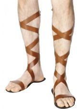 Roman Sandals Mens Adults Greek Gladiator Fancy Dress Costume Outfit Accessory