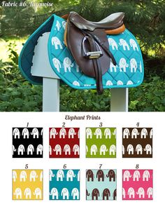 MADE TO ORDER Elephants Saddle Pad Many Colors by PaddedPonies, $68.00 - I want this in a regular dressage pad in either turquoise with white elephants or red with white elephants. OMG cute!