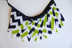 Lime Green Navy Blue Chevron Pennant Bunting by LifeScooped, $28.00