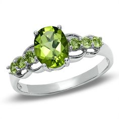 Oval Peridot Ring in Sterling Silver
