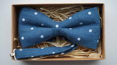 Blue Men's Bowtie / 100% Linen Bow Tie- Adjustable pretied Men's Bow Tie- Groom's Bow Tie by ArtOfLithuania on Etsy
