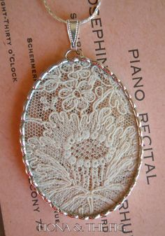 Lace soldered pendant, gorgeous! - a way to save piece of your dress forever ❤️