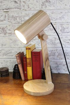 Wood Cylindrical Table Lamp with adjustable lamp head - Fat Shack Vintage - Fat Shack Vintage Table Lamp Wood, Wooden Lamp, Desk Lamp, Table Lamps, Traditional Office, Scandinavian Interior Design, Wood Design, Interior Decorating, Ceiling Lights