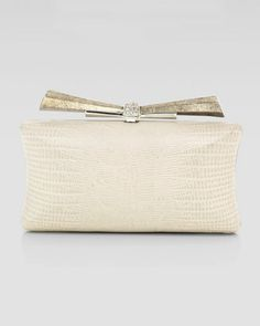 Vanessa Concave Side Rectangle Clutch Bag, White by Overture Judith Leiber at Neiman Marcus.
