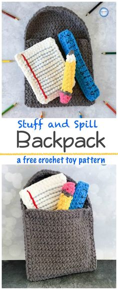 Free crochet pattern! Back-to-school season is now in full swing! Whip up this cute and quick Stuff and Spill Backpack so that your babies and toddlers can play pretend school around the house :) This pattern is made with plushy Bernat Blanket yarn, baby safe, and is perfect for encouraging motor skills and pretend play.